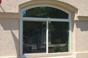 picture of a tan panoramic series window installed in home in Folsom, CA