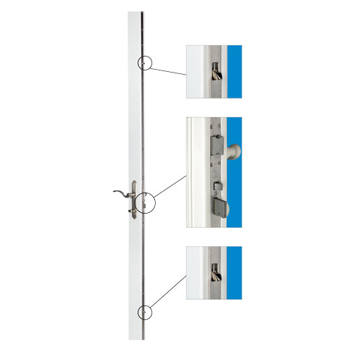 graphic showing anlin malibu swing door multipoint lock